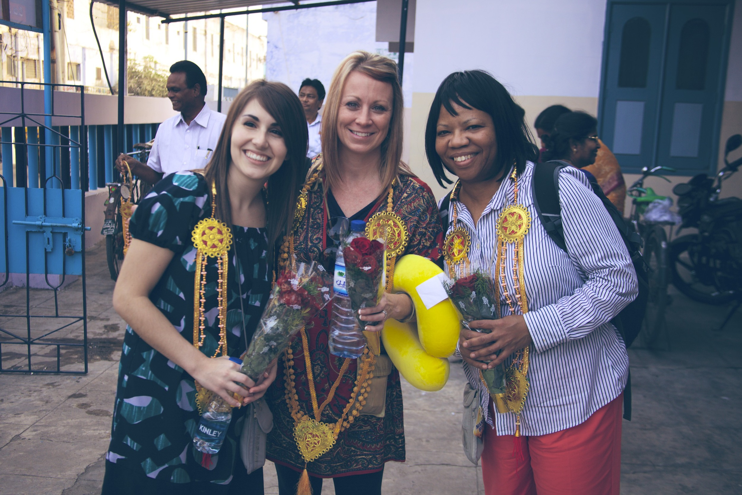 We were greeted with garlands and flowers.