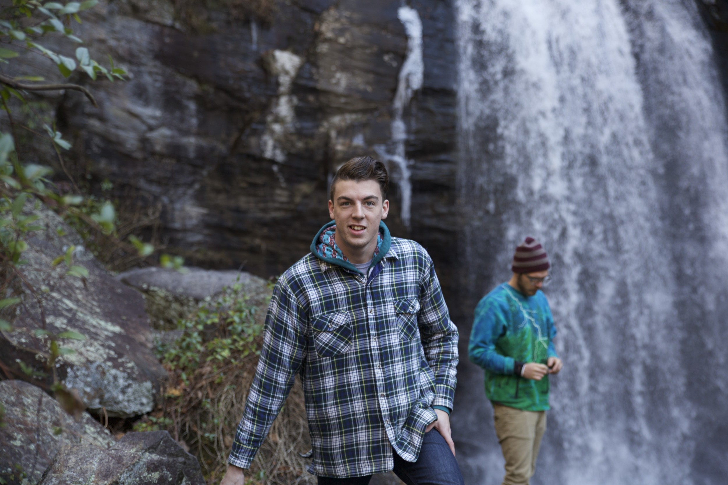 Jeremy and Caleb enjoying the beautiful waterfalls of Pisgah National Forest.