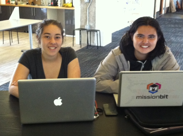 Mission Bit interns Gisela (left) and Dulce during their first day at Hack Reactor
