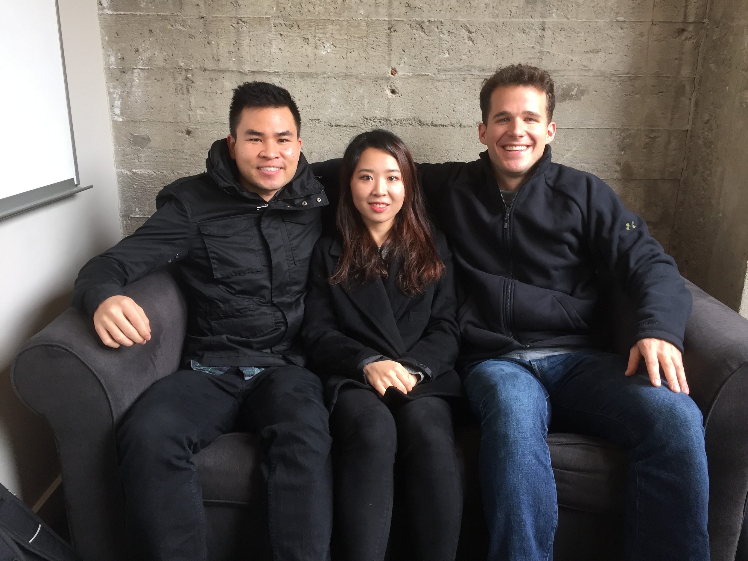 From left, Nick Fujita, Sunyoung Kim and Charlie Harrington built Wormie, an iOS app that allows users to request video content from anywhere in the world.