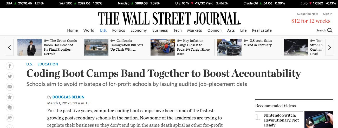 Wall Street Journal reports on the changes in bootcamp reporting transparency.