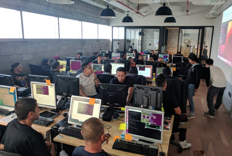 Holacode, a Hack Reactor supported coding bootcamp for recent returnees, on their first day of class