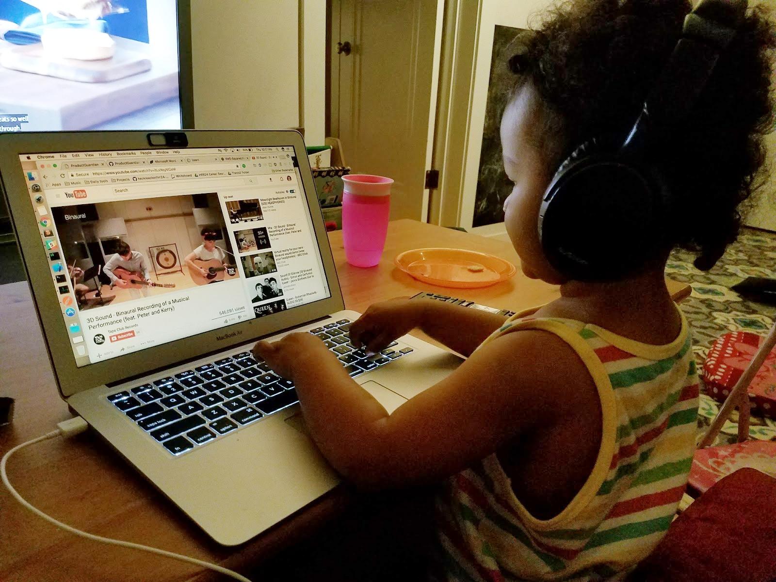 Sheena's daughter enjoys some computer time.