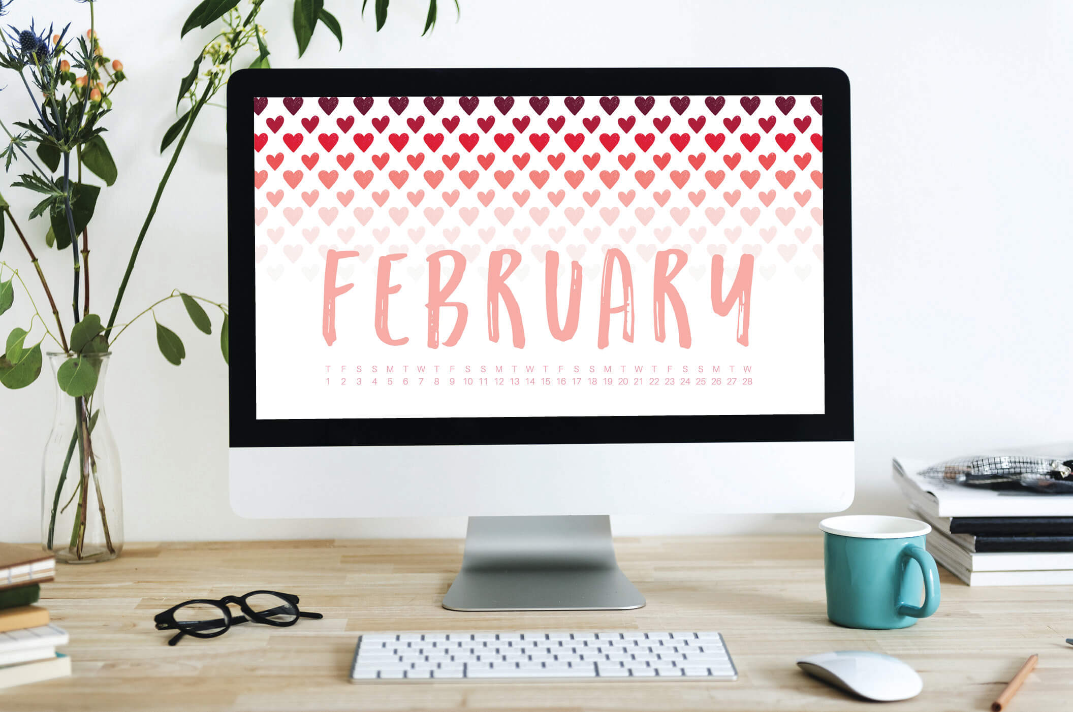 Uppercase Designs February 2018 Desktop Calendar Wallpaper