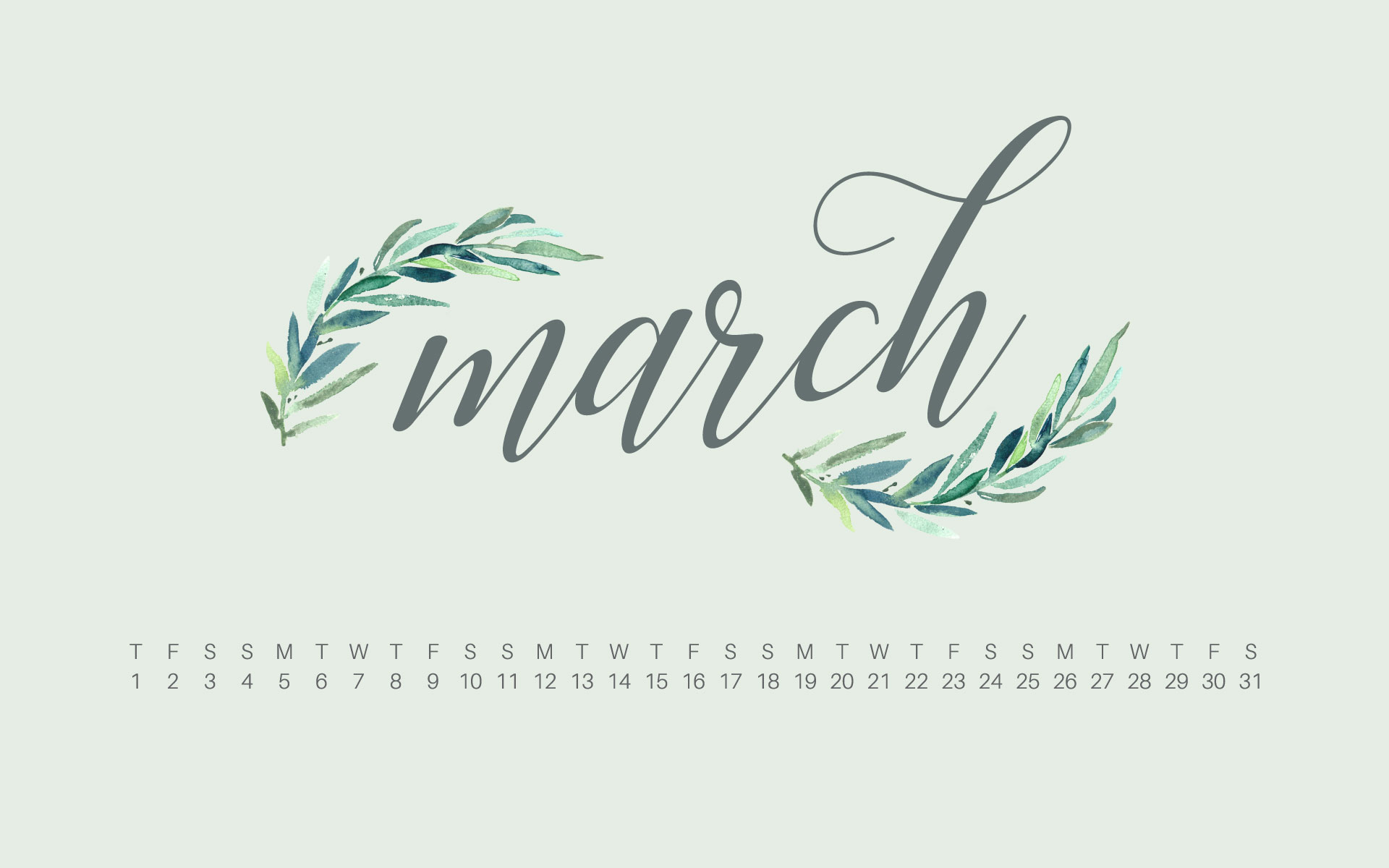 Uppercase Designs March 2018 Desktop Calendar Wallpaper