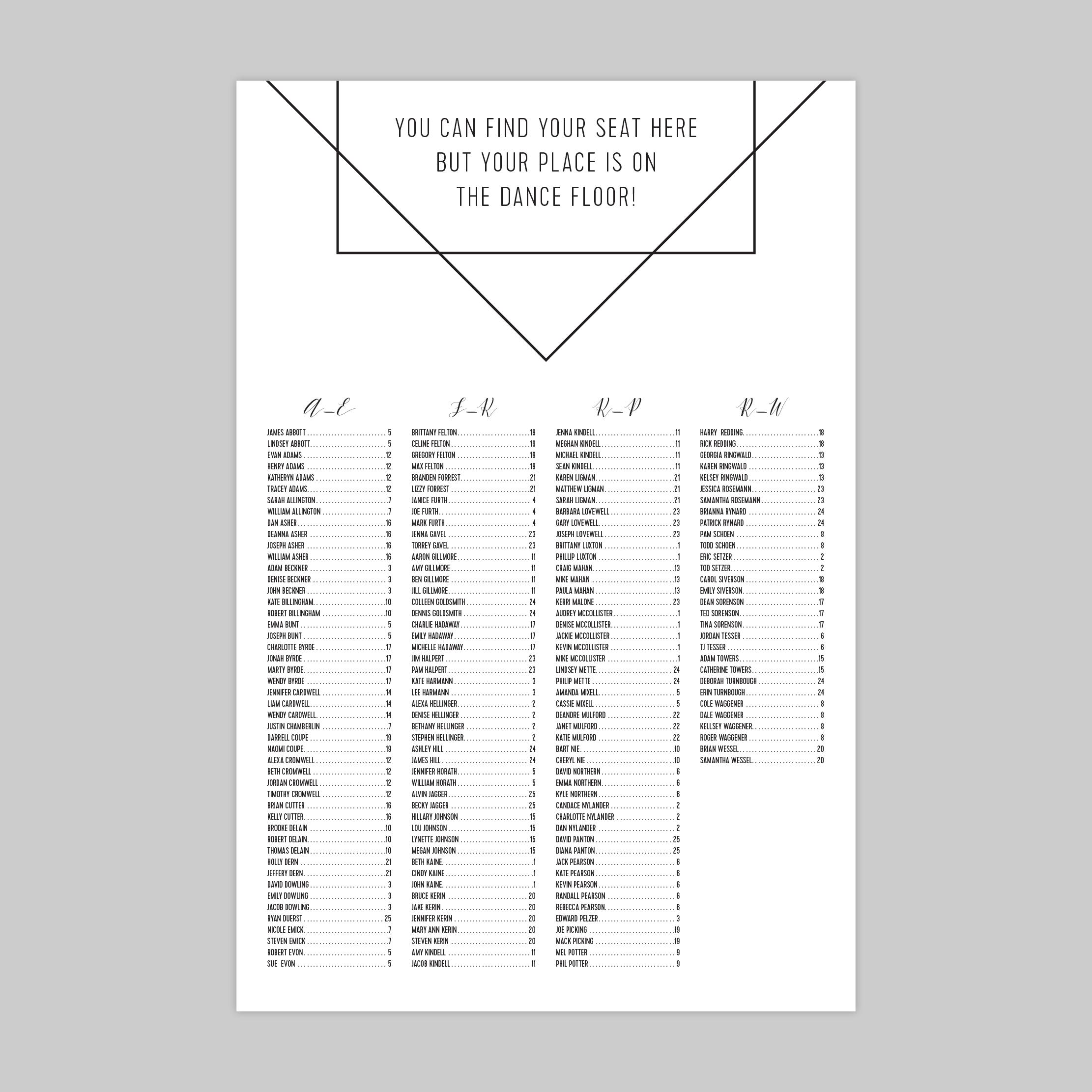 Seating Chart No. 10