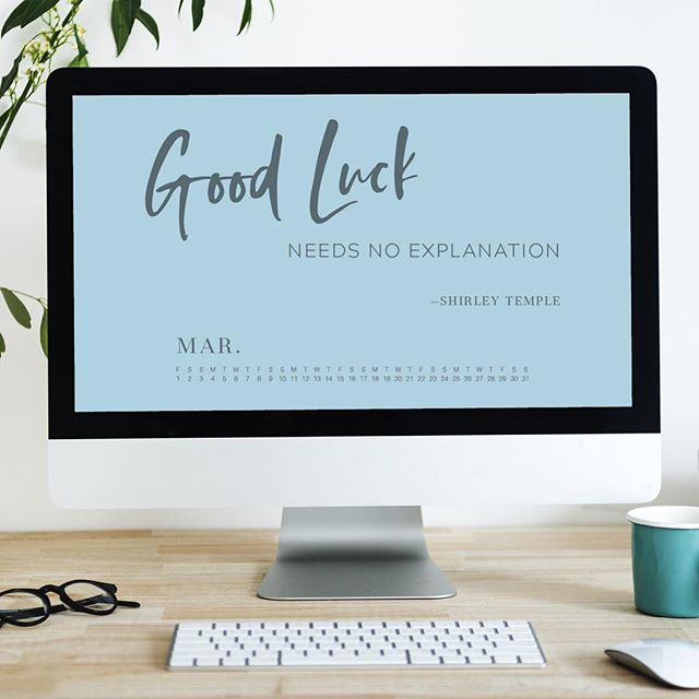 Are you hoping March will be bringing you a little luck this year? I know I am. The new March desktop wallpaper is up on the blog - grab your copy today. {link in bio} . . #march #marchwallpaper #marchdesktopcalendar #markcalendar #luck #lucky #shirleytemple #quote #quotes #luckyquote