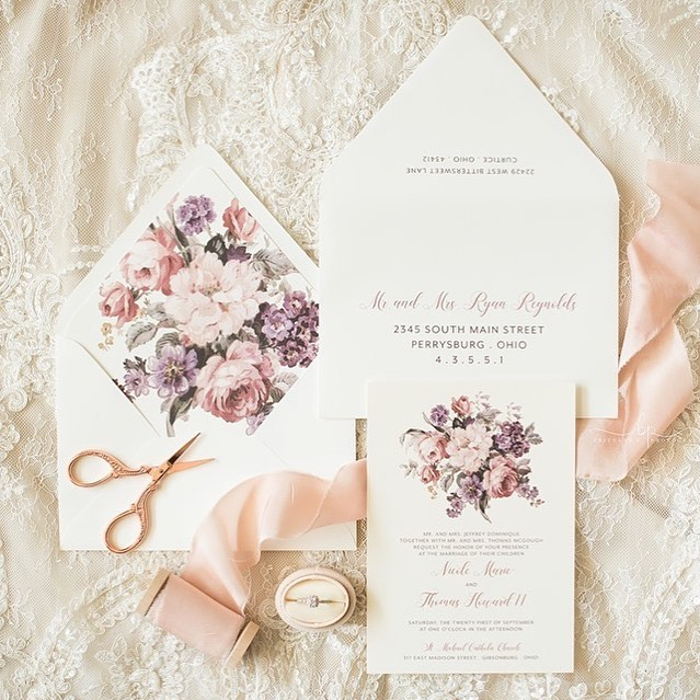September was my busiest wedding month this year and this past weekend I finished out the month with 3 weddings. All 3 brides were a dream to work with and I just came across this beautiful photo captured by @brittany_p_photography from Nicole and TJ's day yesterday. . . #toledoohio #toledowedding #ohiowedding #weddinginvitations #weddingstationery #toledobride #ohiobride #floralinvitation #dustyrosewedding #nomoreboringenvelopes