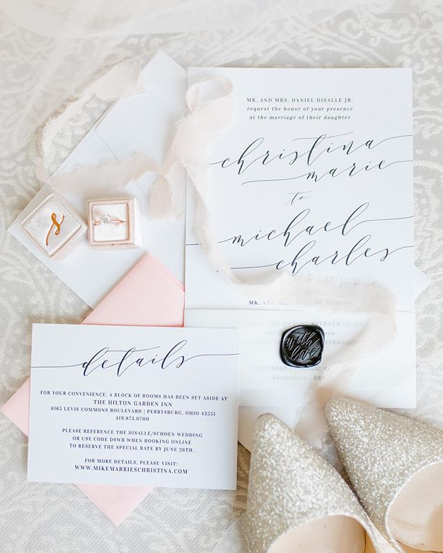 There are 5 reasons I love this picture.  no 1. There's a vellum wrap no 2. We secured it with a wax seal no 3. The pink return envelope  no 4. This bride had the biggest heart no 5. Viridian Ivy Images captured the invitation beautifully . . #weddinginvitations #waxseal #artisaire #pinkwedding #toledoohio #ohiowedding #toledowedding #toledoweddingguide #toledobride #ohiobride #stationery