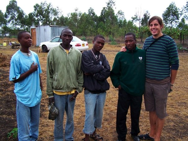 The first boys to live on the land, including Justin and Patrick with friend and long time supporter Ben Carroll.