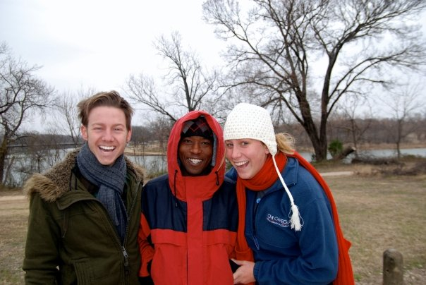 Jenne and Seth with Boniface in Waco Texas. This was the first time Seth had met Boniface after raising money for him in Kenya. Seth hopes to visit Boniface and the work someday as a medical doctor.