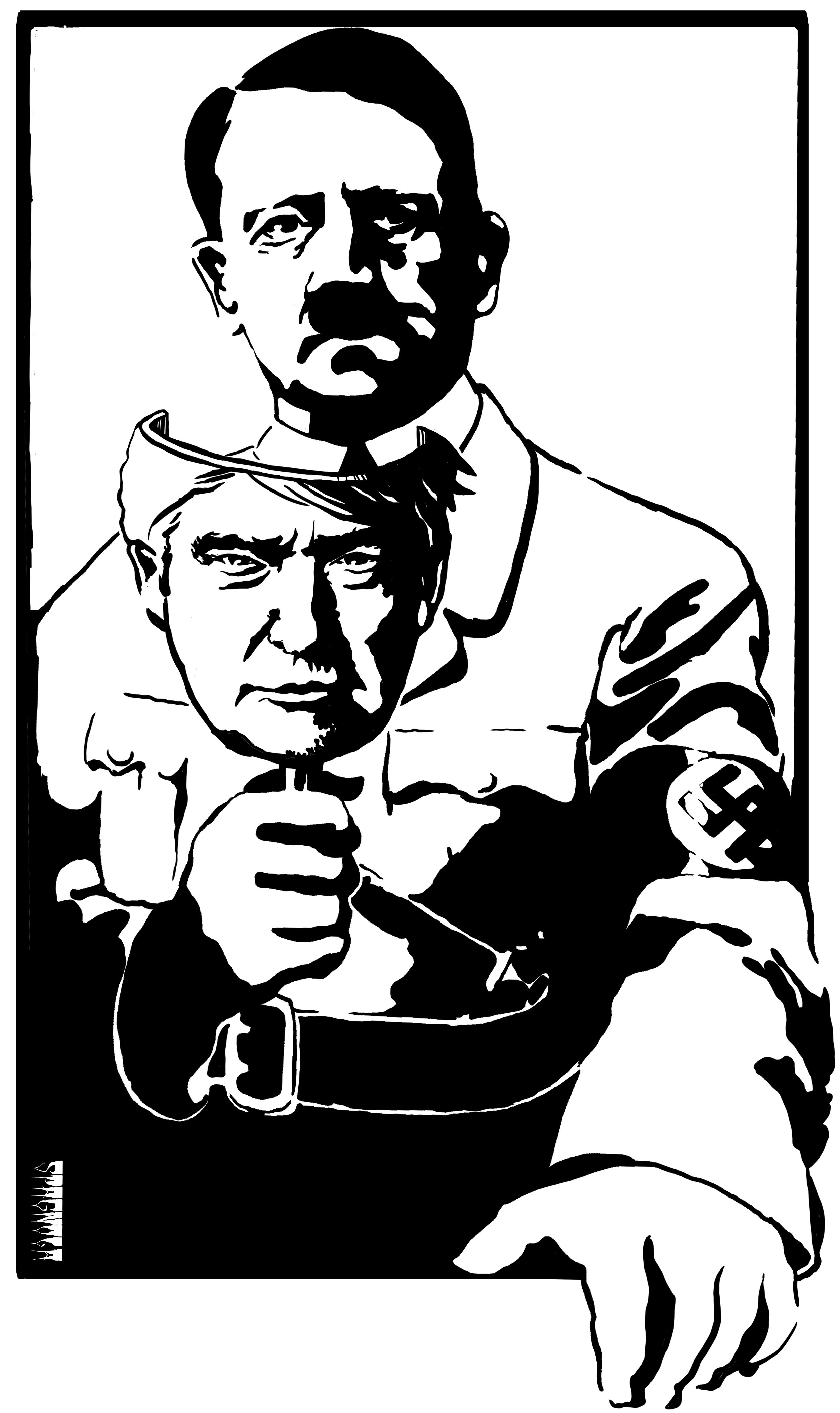 "Hitler with Trump Mask Screen Print: Hand Printed, Limited Edition, Signed and Numbered. Preorder available now. 19x25"" on French Paper. Please Check out the link to my ""store"" if you would like to order online."