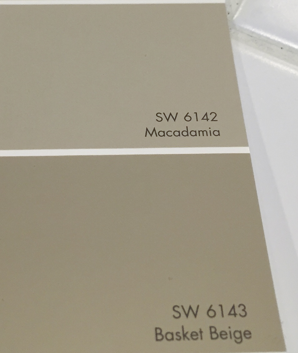 Sherwin Williams SW 6142 Macadamia was the color best suited for the space after testing the two choices in the room's changing lighting.