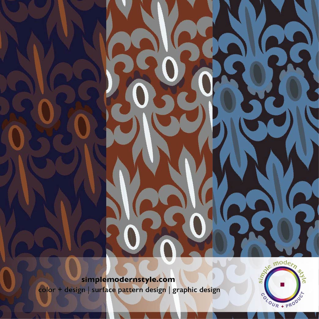 Graphic repeat pattern designs with rich colors for a bold product or interior by Simple Modern Style, Color + Design.