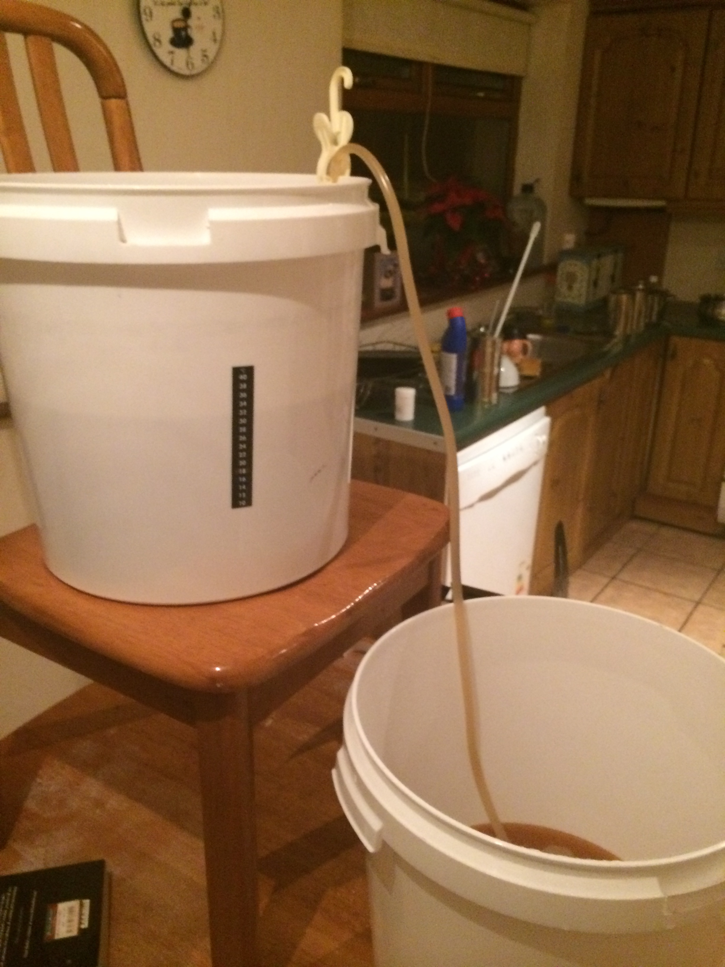 Racking the lager to a second fermenter to condition