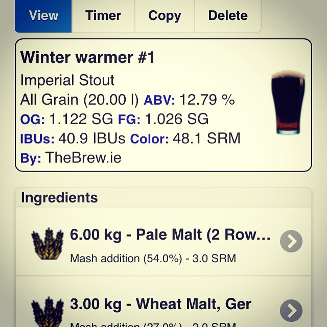 Planning my next few brews to go up on theBrew.ie, including this mammoth of a brew. Any other beers I should be looking at? #toomanyhashtags #beer #blonde #brew #brews #brewing #homebrew #homebrewing #microbrew #microbrewing #drinks #ale #paleale #ipa #stout #porter #lager #craftbeer #brau #brewery #craftbrew #amber #beercraft #brewyourown #brewyourownbeer #byob #brewporn #beerporn
