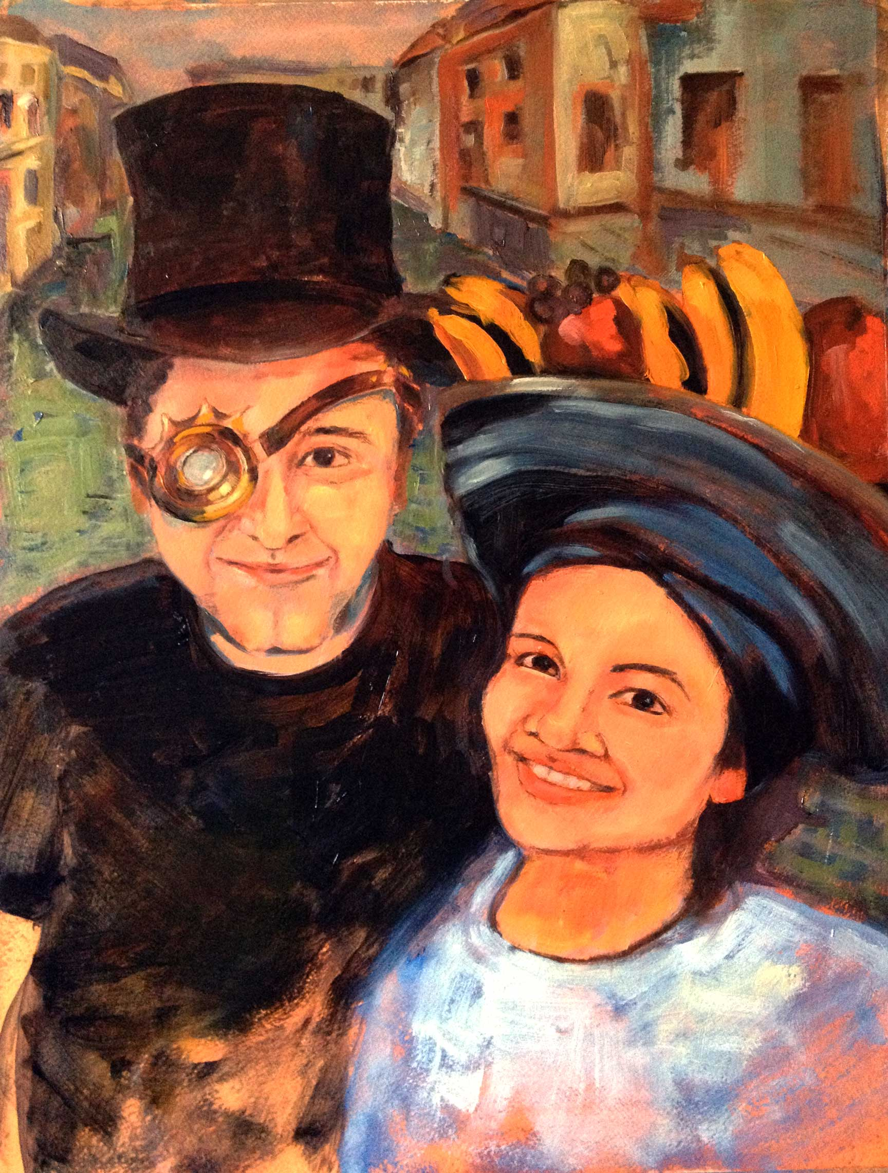 Chris and Pattra. This was a wedding gift for a marvelous couple. Elements of Venice, the 19th century, and Brazilian pop icons were all incorporated into this gem!