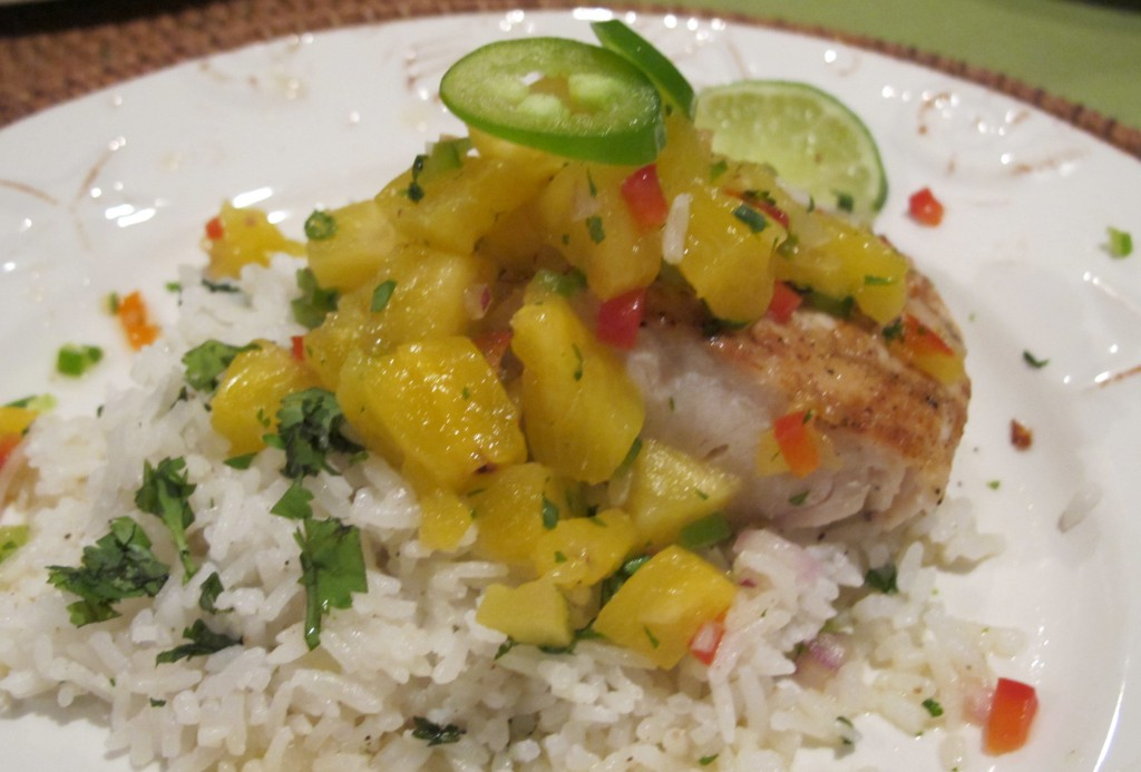 Fresh Pineapple Jalapeno Salsa served over Grilled Red Snapper with Coconut Cilantro Rice