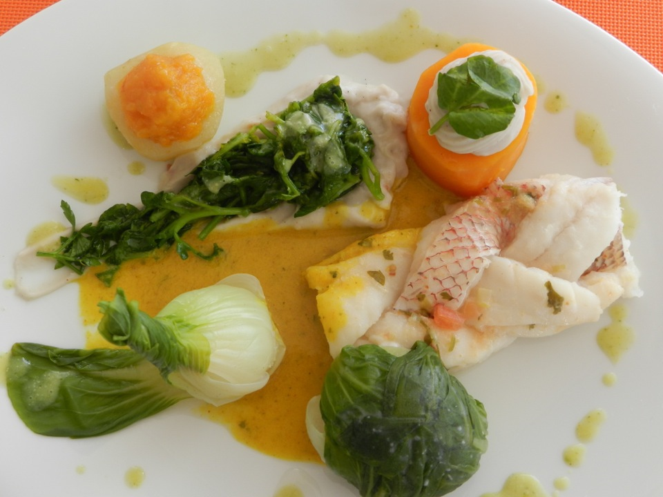 """1st Place Entree - Chef Christine Hedeline, Yacht Maitai - Red Snapper """"locks like"""" accompanied with Stuffed Caribbean Vegetables"""