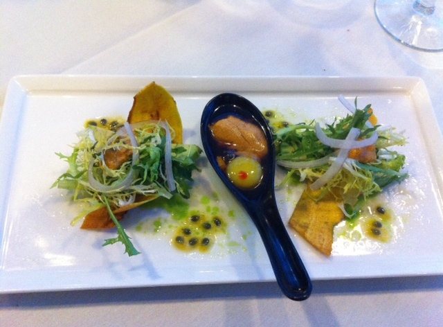 Uni Trio -  Uni Shooter and Quail Egg with Citrus Ponzu, Plantain Chip Boats with Uni Citrus Frisee Salad