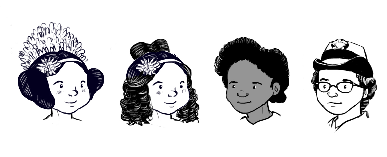 The two on the left are both Ada Lovelace with different hair, but I thought I did a good job distinguishing Evelyn Boyd Granville and Grace Hopper