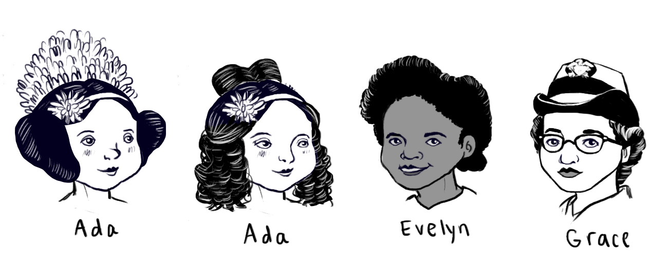 I prefer right Ada's expression, but left Ada's hair style. I'm really happy with Evelyn's features, I just want to make a few subtle changes to make her look more child-like. I'd still like to make some changes to Grace's expression, especially her lips.