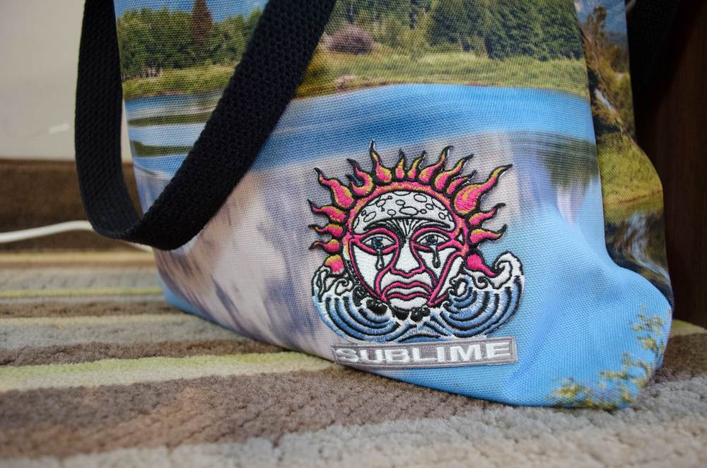 "Sublime/Sublime , 2015, tote bag, patch, humidifier, 16"" x 16"" x 10"""