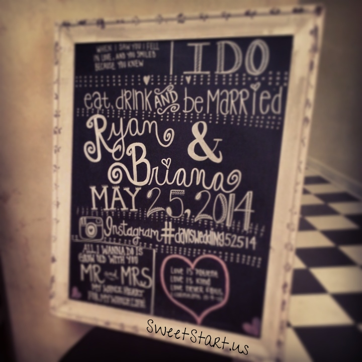 Beautiful chalkboard art by our Sweet Start Bride's sister  ❤