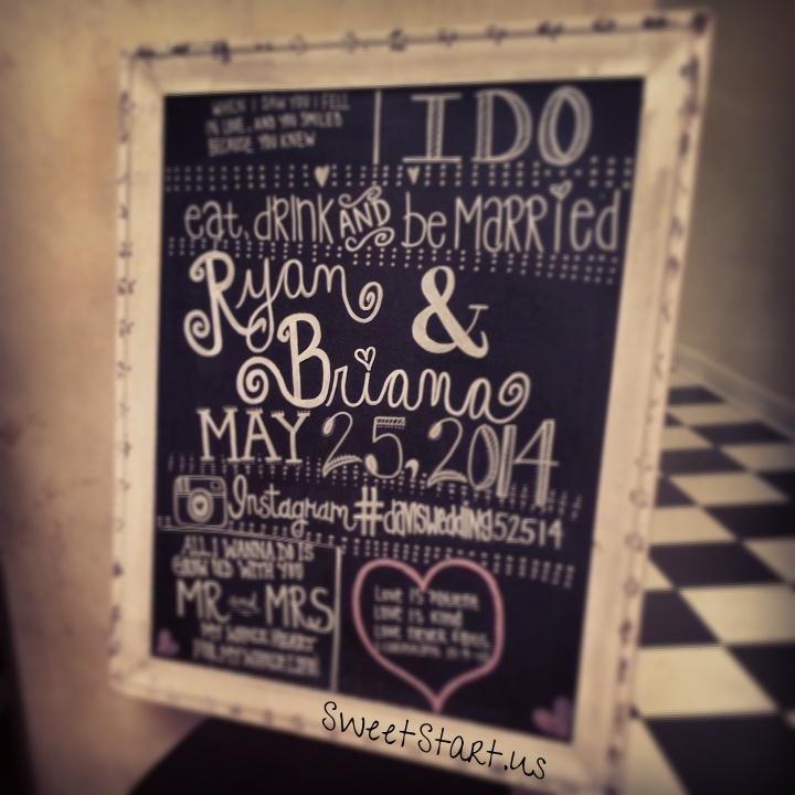 Beautiful chalkboard art by our Sweet Start Bride's sister ❤