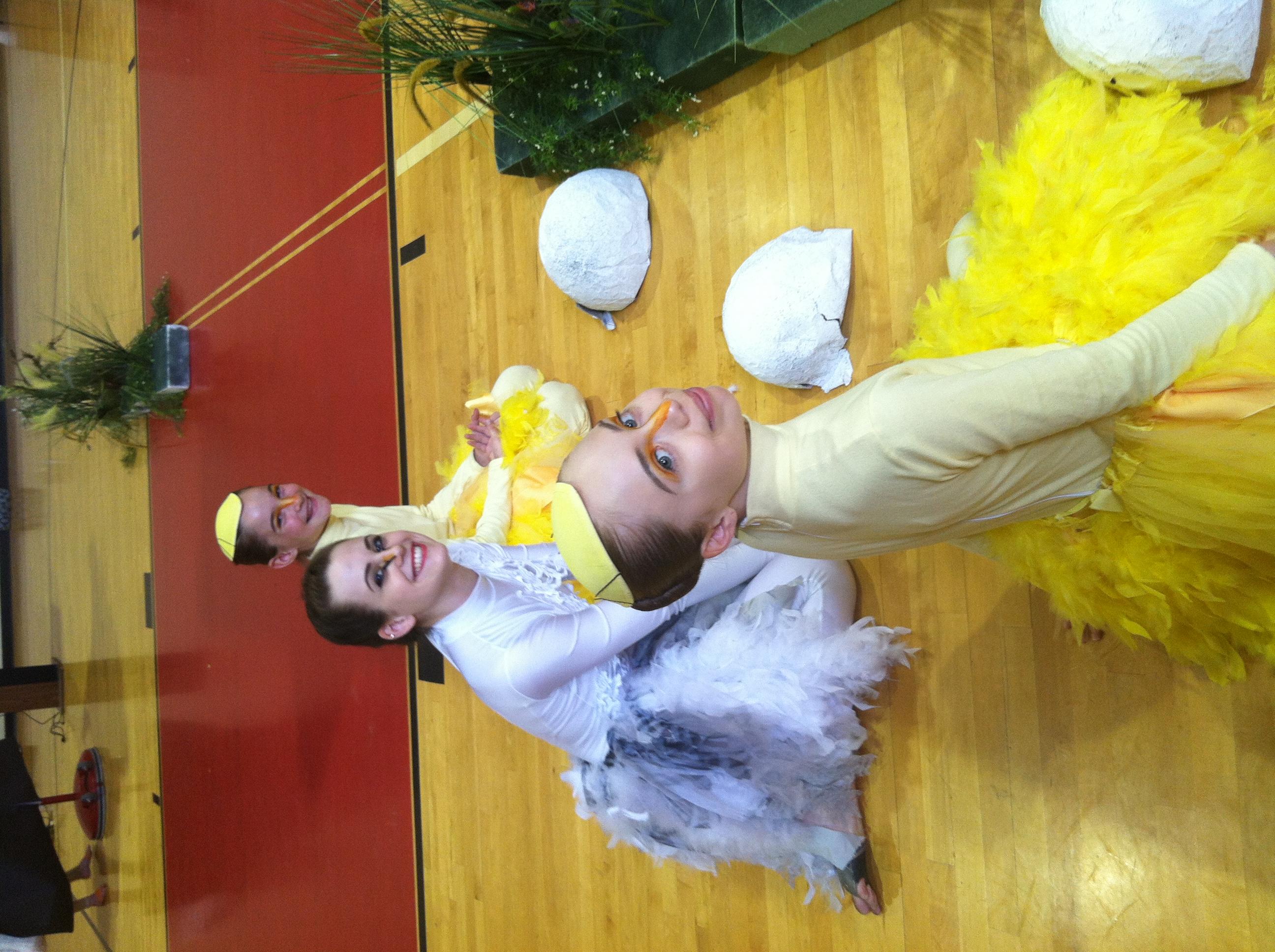 Pennsylvania Regional Ballet dancers waiting to begin an Ugly Duckling performance