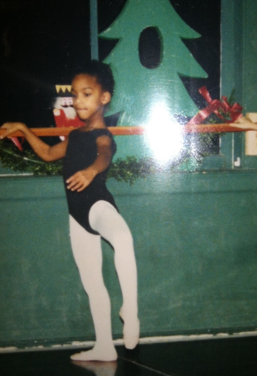 7 year old (?) Danielle Smith in Holly Mora's ballet class. Photo credit: Linda Smith
