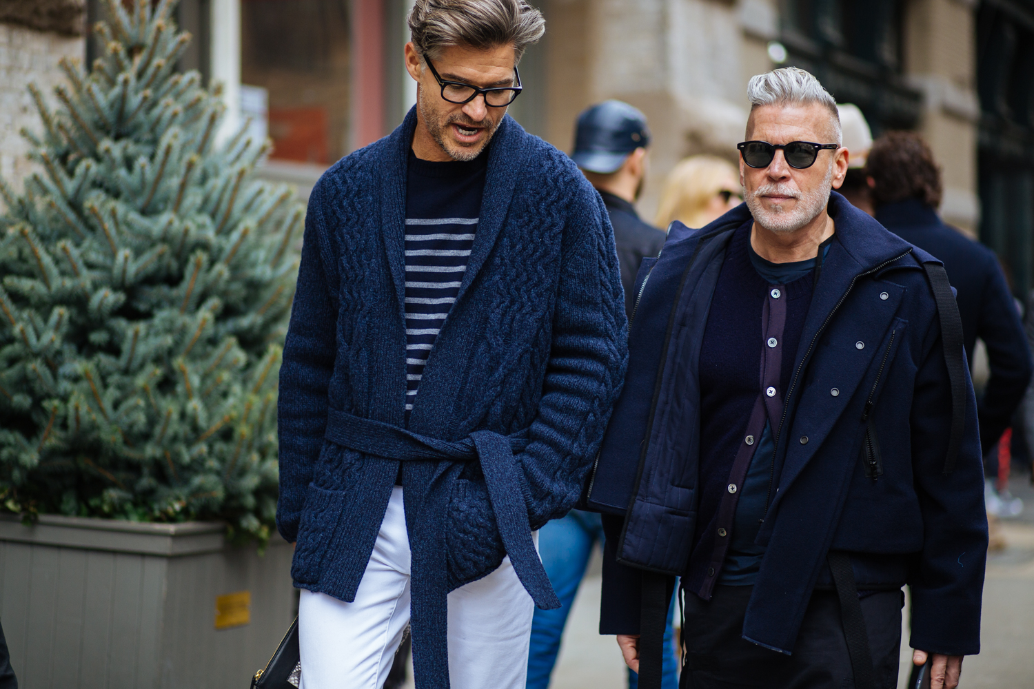 Cardigan by Eidos, Striped Sweater by Craft Atlantic, Jeans by J. Brand, Bag by Mitchell Primrose, Glasses by Tom Ford