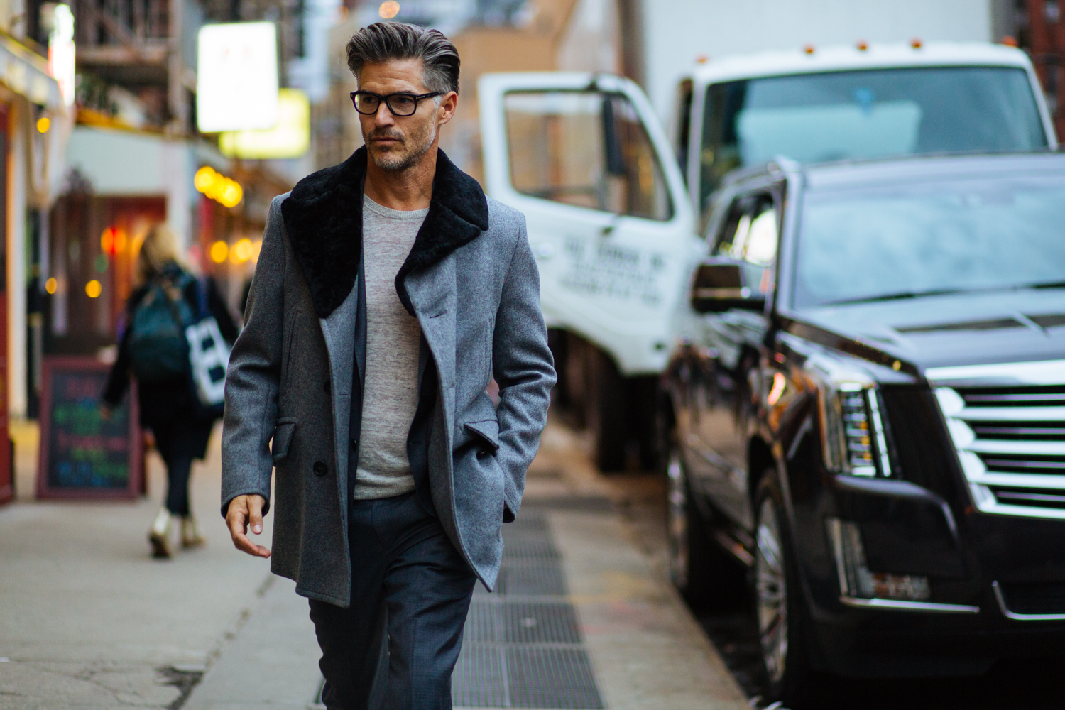 Wool Peacoat by Todd Snyder Ny x Private White VC, Suit and Sweater by Todd Snyder NY