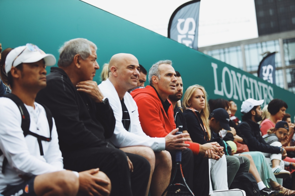 Andre Agassi, Longines Ambassador of Elegance, and Alex Corretja, patron of this year's tournament, watched the final match before they joined the two finalists in a match against one another.
