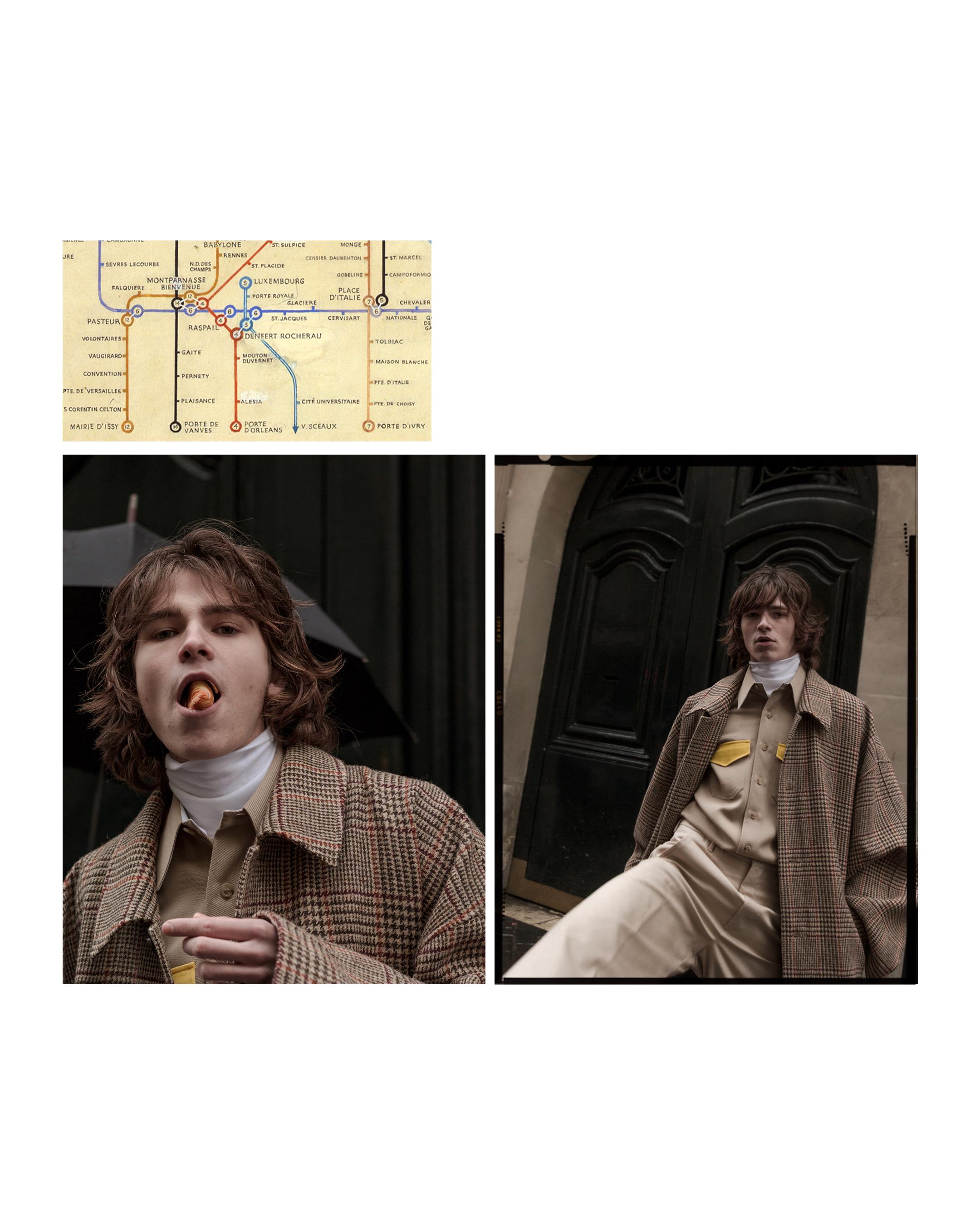 Peace Bird coat, Raf Simons knitwear and shirt, Acne Studios pants
