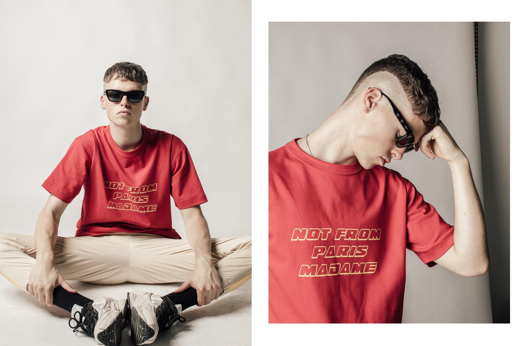 Clothing credit: Drole De Monsieur t-shirt and pants, Raf Simons sneakers