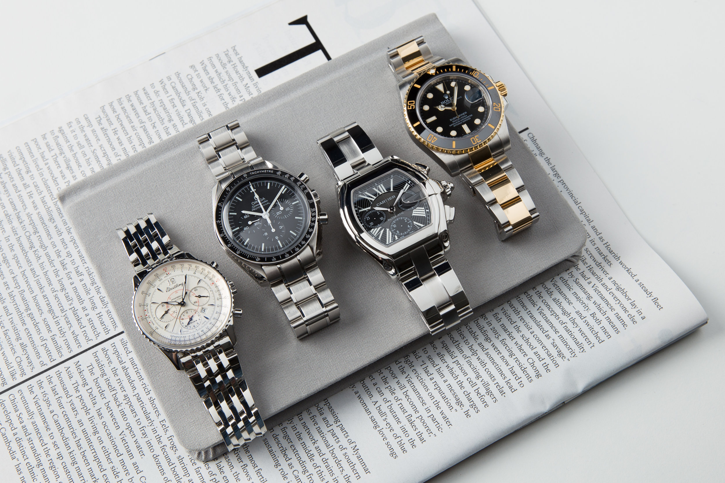BREITLING MONTBRILLIANT NAVITIMER, OMEGA SPEEDMASTER PROFESSIONAL, CARTIER ROADSTER, ROLEX SUBMARINER TWO TONE GOLD