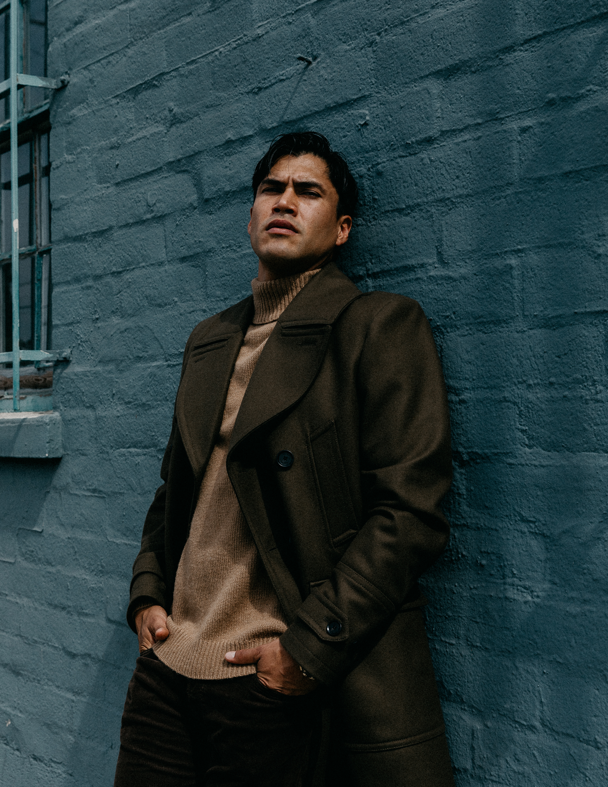 Belstaff   coat,   Todd Snyder   sweater and pants