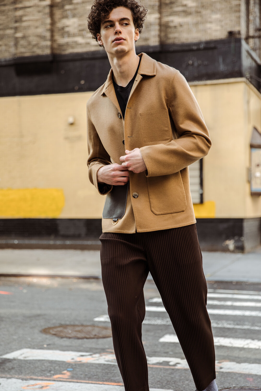 Loewe jacket , Issey Miyake pants via FWRD Man