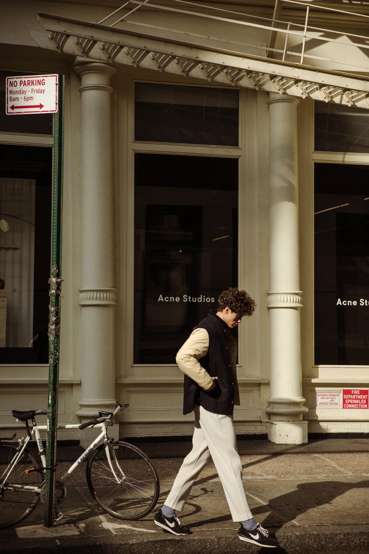 Jil Sander jacket, Issey Miyake pants, Nike x Undercover sneakers