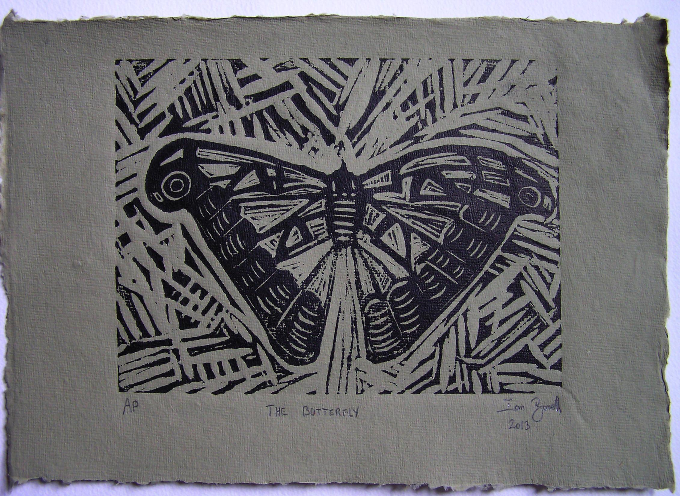 The Butterfly A4 Linocut Artists Proof On Green Handmade Paper Ian Barrett Art