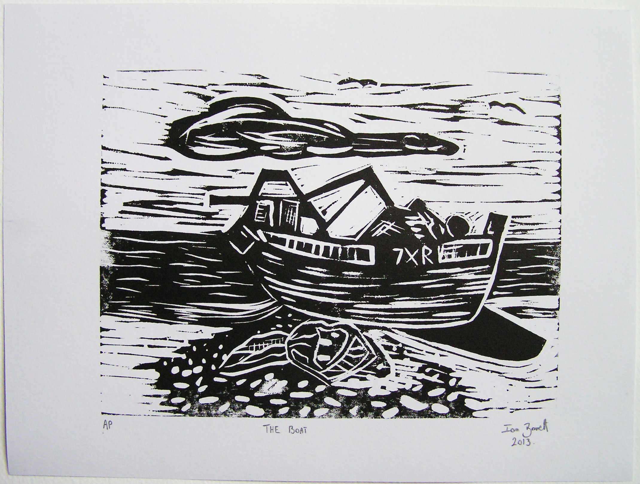 The Boat Ian Barrett A4 Linocut Artists Proof Ian Barrett Art