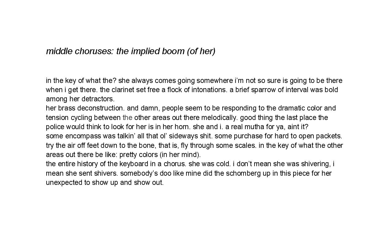 middle choruses: the implied boom (of her)