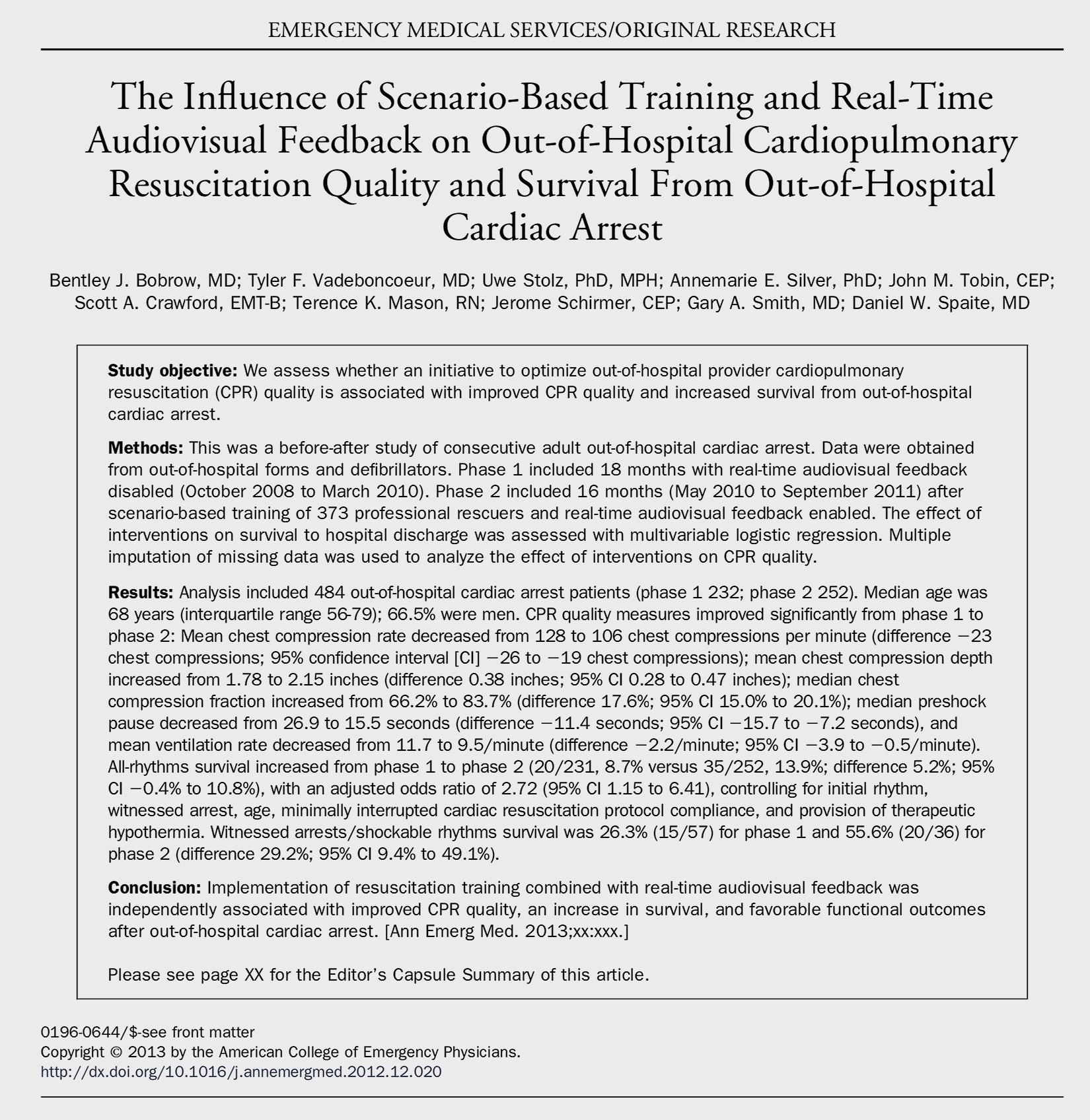 FOR WITNESSED, SHOCKABLE RHYTHMS: PATIENT SURVIVAL WITHOUT REAL-TIME CPR FEEDBACK 26% / WITH REAL-TIME CPR FEEDBACK 56%