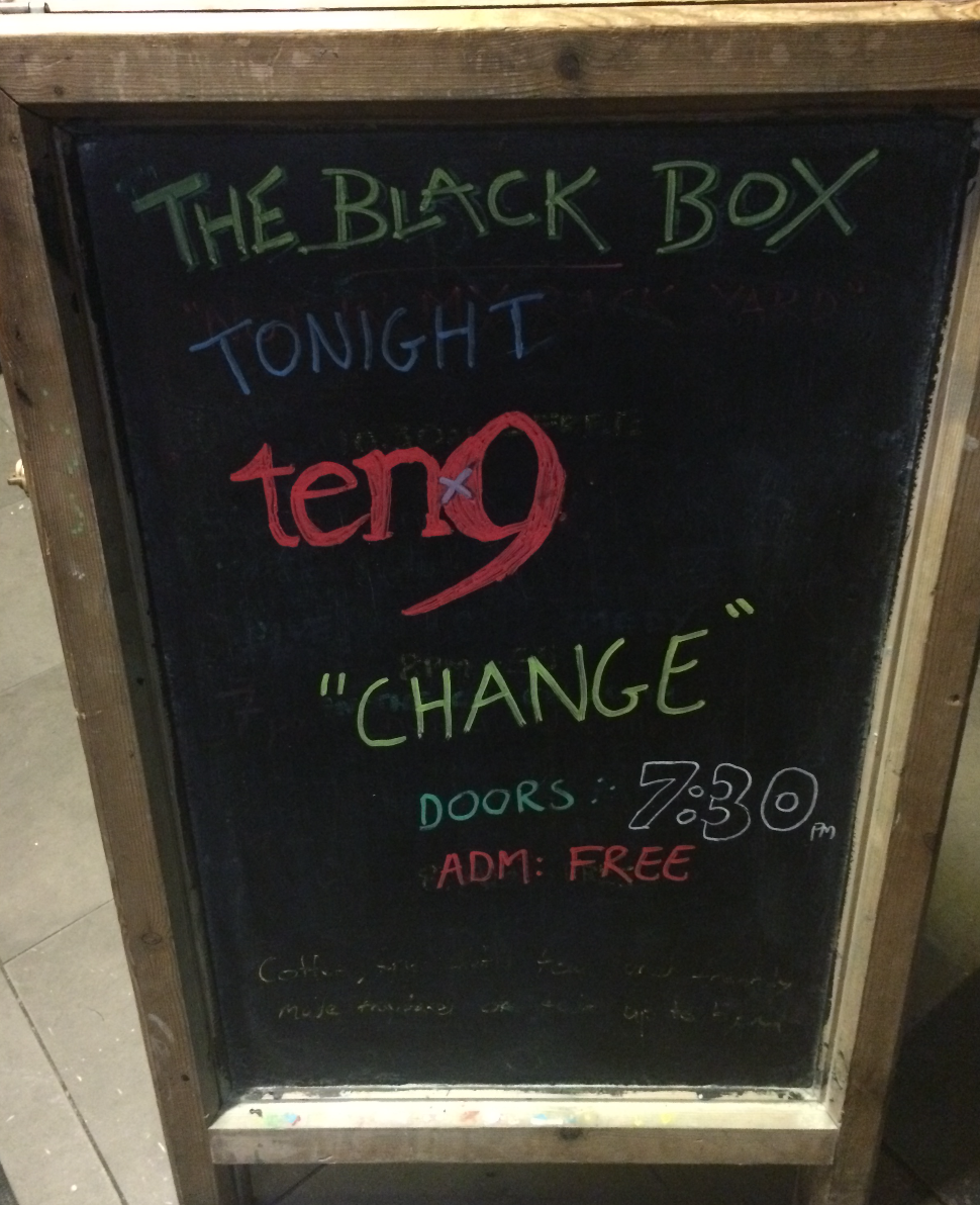 Those clever folks at the Black Box did a fancy rendition of our logo in chalk. Beautiful AND talented.