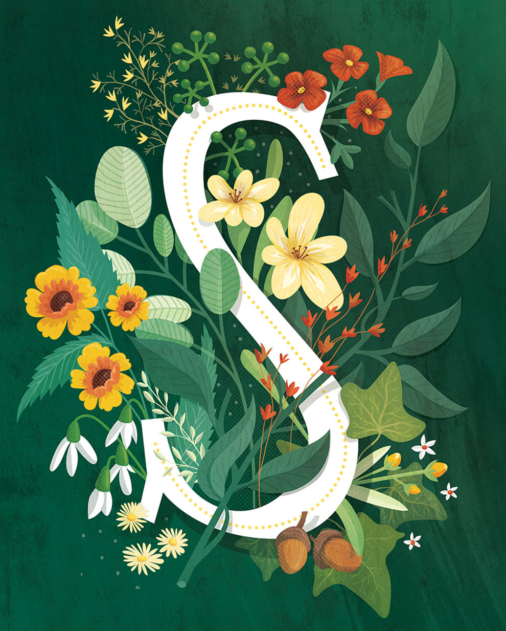 floral letter illustration