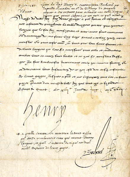 Henry II of France order for the supply of silver for creating a table with silver legs