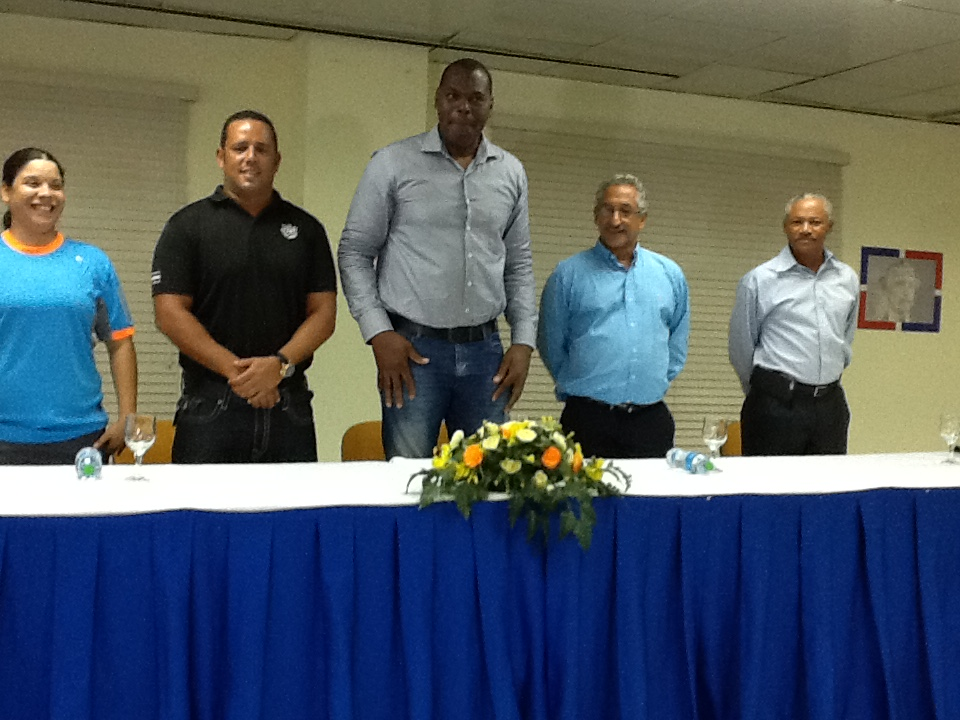 Center - Vice Minister of sports for Dominican republic Soterio Ramirez, Mr. Bornn, Señor plus other representatives from the D.R.