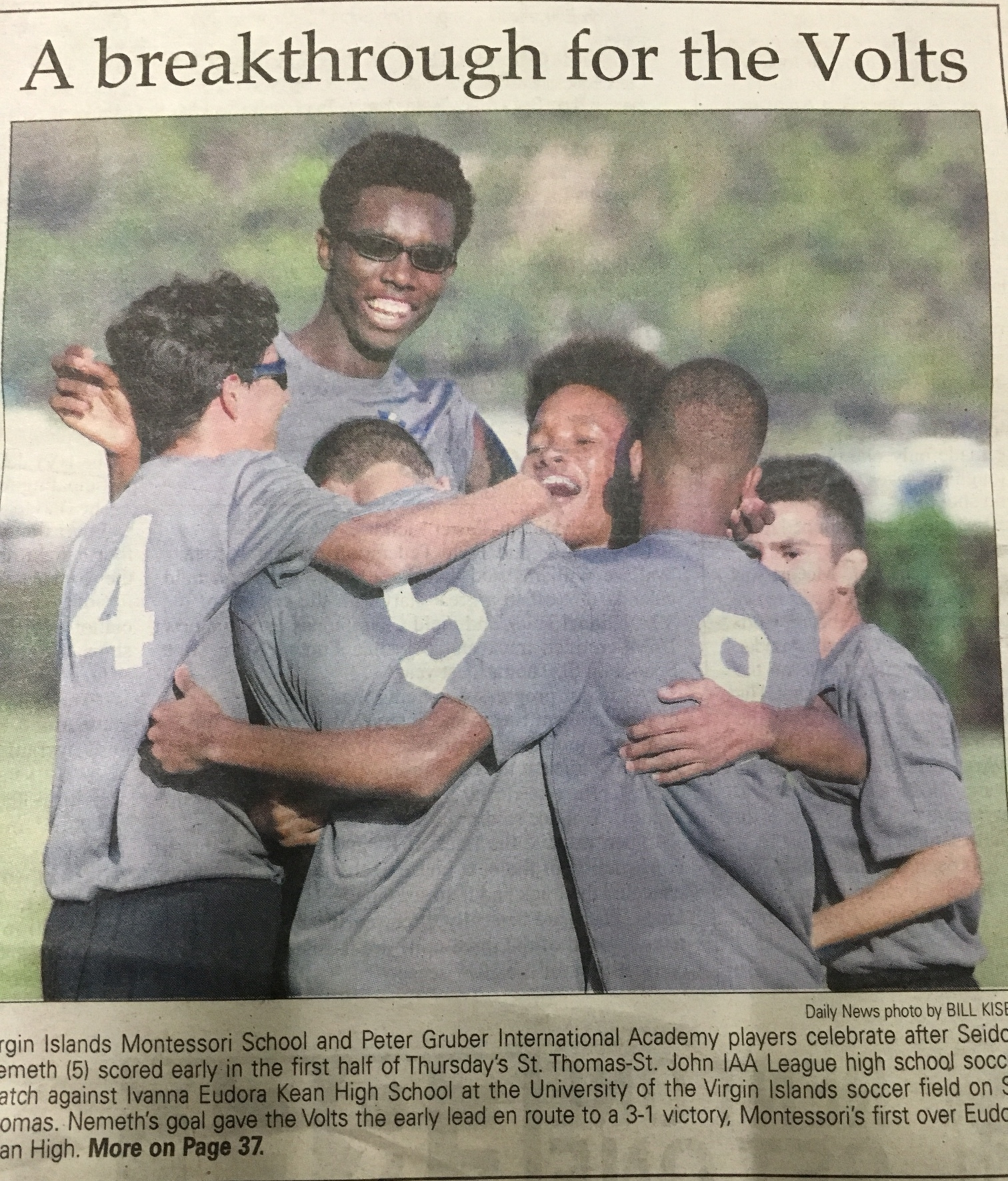 Volts get some well-deserved ink from VI Daily News for their 3-1 victory over Kean last night.