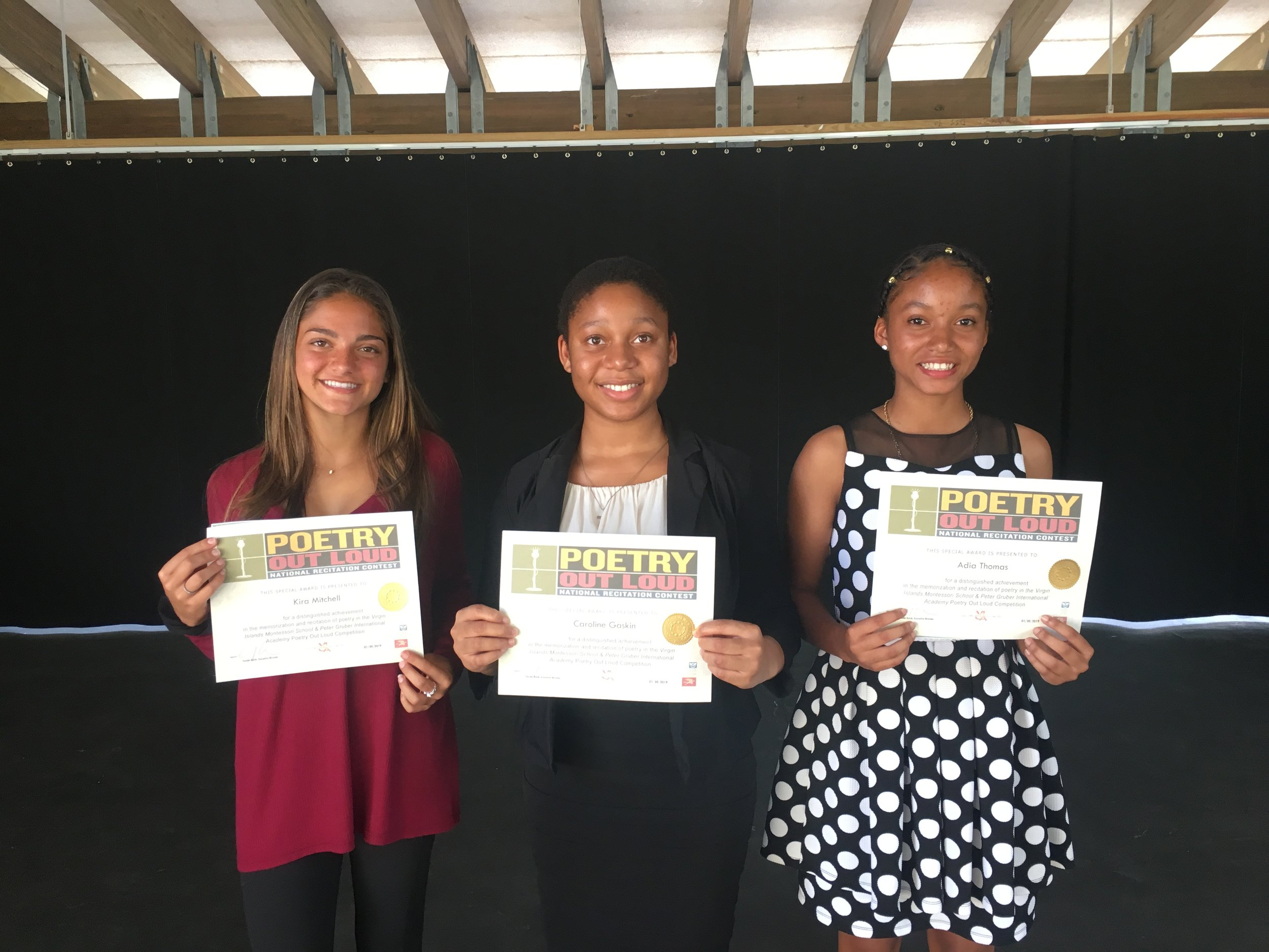3rd place: Kira Mitchell, 2nd place: Caroline Gaskin, 1st place: Adia Thomas